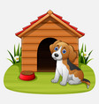 cute dog sitting in front of a kennel in a garden vector image vector image