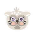 cute gray cat head funny cartoon animal character vector image