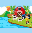 farmer and cows by the lake vector image vector image