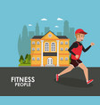 fitness people running vector image vector image