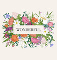 floral frame blooming colorful vector image vector image
