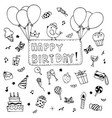 happy birthday party elements set hand drawn of vector image vector image