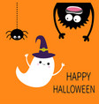 happy halloween card flying ghost spirit witch vector image