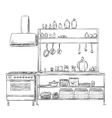 Kitchen cupboard Furniture sketch vector image