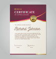 luxury certificate with gold and red details and vector image vector image