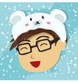 Man with Polar Bear Hat vector image vector image