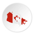 map of canada in national flag colors icon circle vector image