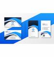 modern blue wave style business card design vector image vector image