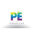 pe p e colorful letter origami triangles design vector image vector image