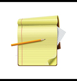 Pencil on notepad and white background vector image vector image