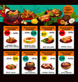 price menu for malaysian cuisine lunch vector image vector image