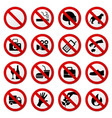 prohibited no stop sign a set of sign vector image