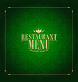 restaurant green menu design vector image vector image