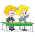 Schoolchildren answering a question vector image vector image