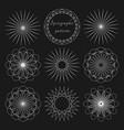 set circular outline elements for design vector image