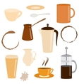 set coffee related icons vector image