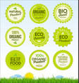 set healthy organic farm fresh product badges vector image