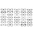 set of black glasses on white background vector image
