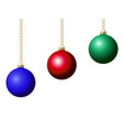 set of christmas ball decoration blue red and vector image vector image