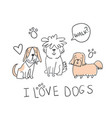 set of cute handdrawn dogs isolated vector image vector image