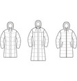set of womens winter down long coat vector image