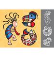 set stylish american indian symbols vector image