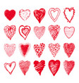 sketch set of red hearts shapes valentines design vector image vector image