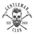 skull with beard gentleman club emblem in tattoo vector image