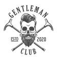 skull with beard gentleman club emblem in tattoo vector image vector image