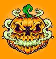 smoking pumpkin clouds halloween vector image vector image
