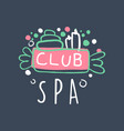 spa club logo badge for wellness yoga center vector image vector image