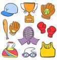 sport equipment cartoon doodle style vector image