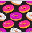 sweet seamless pattern with glazed donuts on a vector image