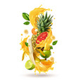 tropical cocktail burst composition vector image vector image