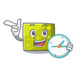 with clock square character cartoon style vector image vector image