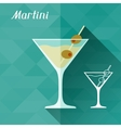 with glass of martini in flat design style vector image vector image