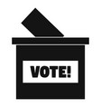 wood vote box icon simple style vector image
