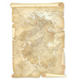 Old pirates treasure island map with marked vector image