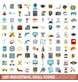 100 industrial skill icons set flat style vector image vector image