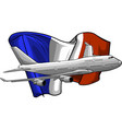 airplane with french flag vector image