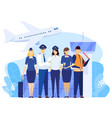 airport crew standing together professional vector image vector image