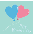 blue and pink balloons hearts valentines day vector image