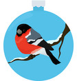 bullfinch bird illiustration in blue christmas vector image vector image
