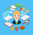 businesswoman and office stationary vector image vector image