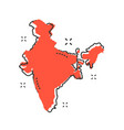 cartoon india map icon in comic style india vector image