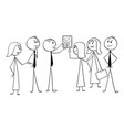 cartoon of business team working together to find vector image vector image