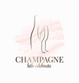 champagne bottle and glass watercolor on white vector image vector image