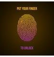 Colorful Fingerprint Yellow Pink on dark vector image
