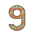 colorful number nine design over striped and lines vector image vector image