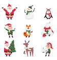 cute christmas characters collection funny santa vector image